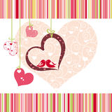 Lovebirds colorful heart shape card design Stock Photo