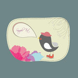 Lovebirds floral Card Template. Stock Photo