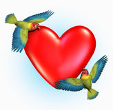 Lovebirds Flying Near a Heart - includes clipping path. 3D render of two Lovebirds flying near a heart Royalty Free Stock Images