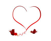 Lovebirds. Heart shape design with two red birds Stock Image