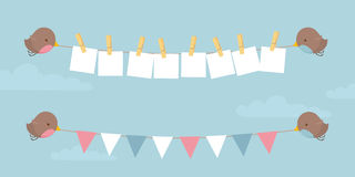 Lovebirds Message. Little birds holding up your message and some bunting Stock Illustration