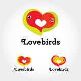 Lovebirds pair sign and symbol. Stylish design elements or icons on white background. Vector modern illustration in flat style Royalty Free Stock Photography
