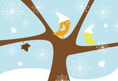 Lovebirds in snowfall Stock Photos