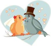 Lovebirds Vector Cartoon Wedding Invitation Stock Photo