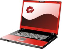 Loved computer. Red computer with trace of the lips Stock Photo