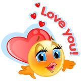 Loved emoticon sticker with blue background for messenger  Stock Image