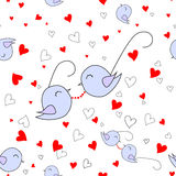 Loved nestling - glasses with red hearths. Isolated. Vector  seamless pattern. Stock Photography