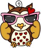 Loved owl with sunglasses. Scalable vectorial image representing a loved owl with sunglasses, isolated on white Stock Photos
