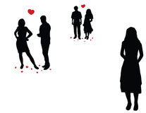 Loveful couples and lonely girl. On the white background Stock Photos
