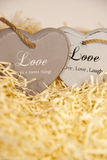 Loveing wooden hearts Royalty Free Stock Photo