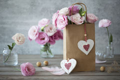 Lovel background with flowers and hearts Stock Photo