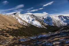 Loveland Pass in Colorado the Mountains. Loveland Pass is a high mountain pass in the western United States, at an elevation of 11,990 feet above sea level in stock images