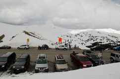 Loveland Pass - Colorado. At the peak of Loveland Pass, a high mountain pass in the Rocky Mountains of north-central Colorado, U.S.A. It is located on the royalty free stock photos