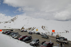 Loveland Pass - Colorado. At the peak of Loveland Pass, a high mountain pass in the Rocky Mountains of north-central Colorado, U.S.A. It is located on the royalty free stock photography