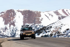 Loveland pass. Colorado, USA-March 15, 2015. Typical weekend at  on late Winter day royalty free stock photo