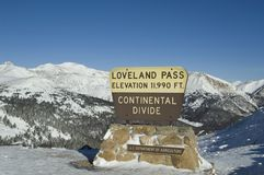 Loveland Pass winter. Sign at the top of Loveland pass on the Continental Divde in Colorado stock photo