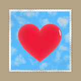 Loveletter: stamp with red heart on envelope Stock Photography