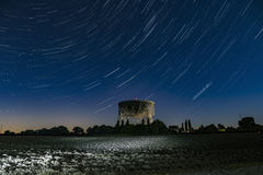 Lovell Telescope Jodrell Bank. Star trails over the Lovell telescope at Jodrell Bank in Cheshire Stock Image