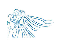 Lovelly夫妇婚礼线艺术商标 免版税库存照片