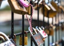 Lovelocks вдоль Рекы Сена в Париже Стоковая Фотография