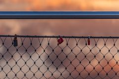 Lovelocks on a bridge railing royalty free stock image