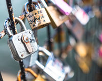 Lovelocks entlang der Seine in Paris Stockbilder