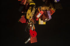 Lovelocks illuminated at night Royalty Free Stock Photos