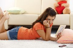 Lovelorn girl at home Royalty Free Stock Images