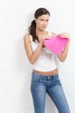 lovelorn paper kvinna för hjärta royaltyfria bilder