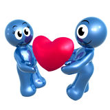 Lovely 3d icon couple with heart Stock Photos