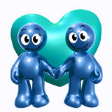 Lovely 3d icon couple with heart. Illustration Stock Image