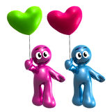 Lovely 3d icon couple with heart balloons. Illustration Royalty Free Stock Photos