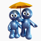 Lovely 3d icon couple with umbrella Royalty Free Stock Image