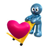 Lovely 3d icon with heart cargo Stock Image