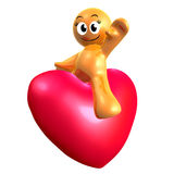 Lovely 3d icon riding a heart Stock Image