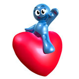 Lovely 3d icon riding a heart. Illustration Stock Photo
