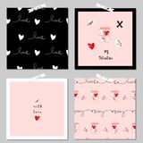 Lovely Abstract Card. Lovely Abstract Hand Drawn Greeting Cards with traditional symbols of Valentine s Day. Cute cartoon gentle background for invitations, gift Stock Images
