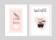 Lovely Abstract Card. Lovely Abstract Hand Drawn Greeting Cards with traditional symbols of Valentine s Day. Cute cartoon gentle background for invitations, gift Stock Photo