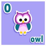 Adorable printable alphabet letters - letter O - illustration - adorable little owl. Lovely alphabet illustration for little kids - lovely little owl - letter O Stock Photos