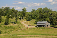 A lovely American idyllic pastoral scene of. Down on the farm in Jefferson Gainger County, Tennessee, USA in early July Royalty Free Stock Image