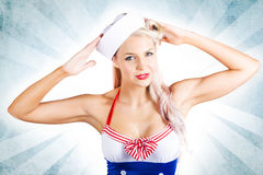 Lovely American Pinup Woman In Military Fashion Stock Photos