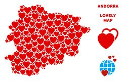 Vector Valentine Andorra Map Composition of Hearts. Lovely Andorra map collage of red hearts. We like Andorra map concept. Abstract vector territorial plan is royalty free illustration