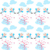 Lovely angel pattern. Little angel and heart tree  background pattern Royalty Free Stock Images