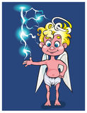 The lovely angel plays with a small lightning. Royalty Free Stock Photo