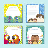 Lovely animal cards collection set. With birds Royalty Free Stock Images