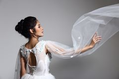 Lovely Asian Beautiful Woman bride in white wedding gown dress w stock image