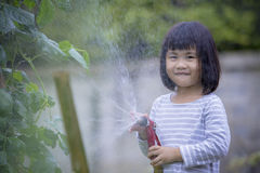 Lovely asian children pouring water to home garden vegetable plant with happiness face stock photos