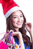 Lovely Asian girl hold gift Royalty Free Stock Image