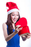 Lovely Asian girl hold gift Royalty Free Stock Photography