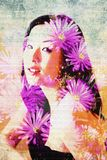 Lovely asian model is surrounded by daisy flowers in this double exposure photograph. Young woman gazes at camera in this hypnotic image where the face and hair royalty free illustration